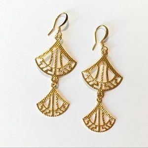 Jewelry - 18k gold filled Greek key fan dangle earrings gift